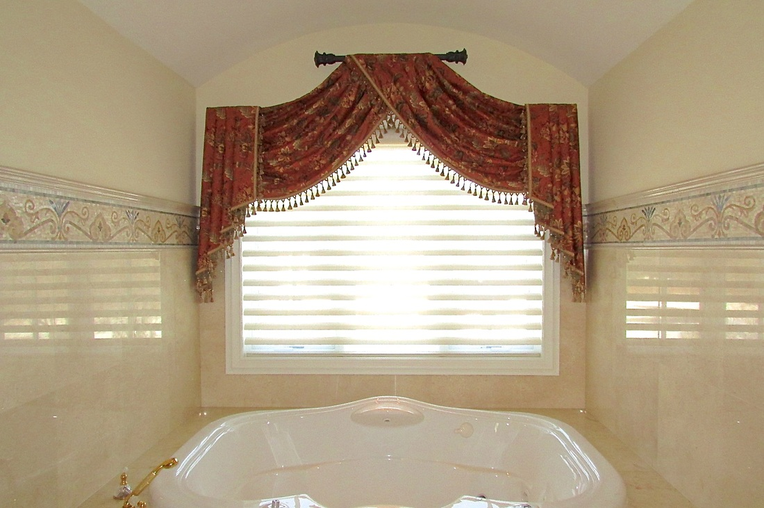 Raised Custom Swag Valance Master Bathroom